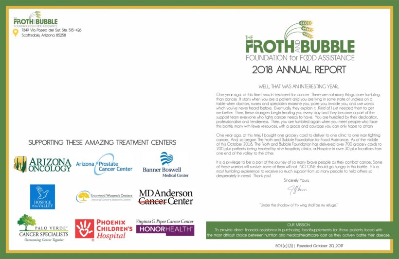 Froth and Bubble Annual Report